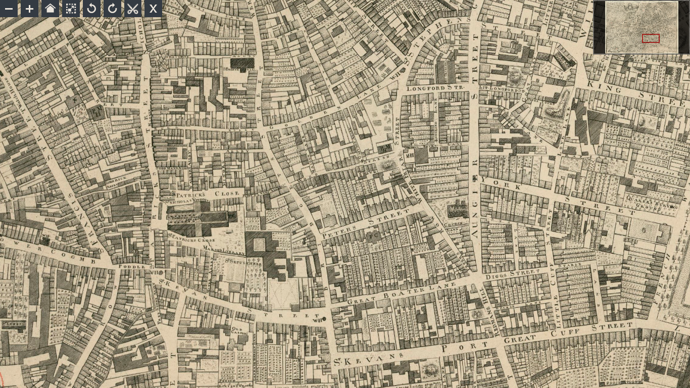 An Exact Survey of the City and Suburbs of Dublin (1756), by John Rocque, showing Peter Street and environs.